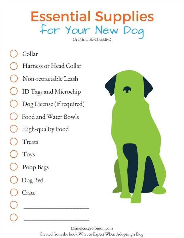 a shopping list for your new dog the essentials dianerosesolomon